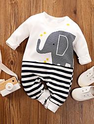 cheap -Baby Boys' Romper Basic Cotton White Striped Animal Print Long Sleeve / Summer