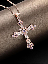 cheap -Women's Men's Pendant Necklace Charm Necklace Classic Cross Precious Fashion Zircon Copper Rose Gold Plated Rose Gold 45 cm Necklace Jewelry 1pc For Christmas Halloween Party Evening Street Gift