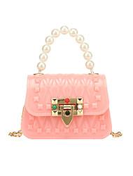 cheap -Women's Girls' Bags PVC Plastic Kids' Bag Rivet Chain Rivet Daily Date Retro Handbags Chain Bag Blue Almond Blushing Pink Green