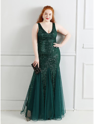 cheap -Mermaid / Trumpet Plus Size Sexy Wedding Guest Formal Evening Dress V Neck Sleeveless Floor Length Sequined with Sequin 2021