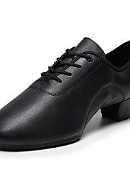 cheap -Men's Latin Shoes Modern Shoes Practice Trainning Dance Shoes Oxford Thick Heel Black Ankle Strap Adults'