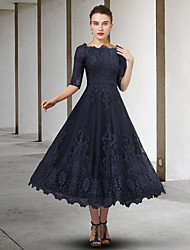 cheap -A-Line Mother of the Bride Dress Elegant Jewel Neck Ankle Length Lace Tulle Half Sleeve with Appliques 2021