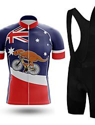 cheap -21Grams Men's Short Sleeve Cycling Jersey with Bib Shorts Summer Spandex Red+Blue Australia Bike Quick Dry Moisture Wicking Sports Australia Mountain Bike MTB Road Bike Cycling Clothing Apparel