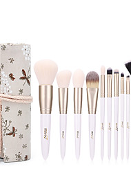 cheap -10PCS Makeup Brush Set Foundation Powder Eye Shadow Makeup Brushes Pearl White Gold Pincel Maquiagem Beauty Tools