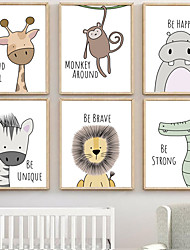 cheap -Nursery Wall Art Canvas Prints Painting Artwork Picture Cartoon Cute Animal Home Decoration Décor Rolled Canvas No Frame Unframed Unstretched