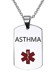 cheap -asthma medical alert necklace for men women stainless steel medical id tag pendant necklace