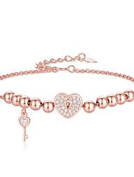 cheap -Women's Bracelet Pendant Bracelet Geometrical Heart Fashion Copper Bracelet Jewelry Silver / Rose Gold For Christmas Party Wedding Daily Work / Gold Plated