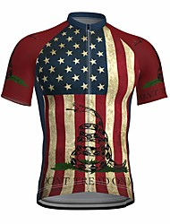 cheap -21Grams Men's Short Sleeve Cycling Jersey Summer Spandex Red American / USA Snake National Flag Bike Top Mountain Bike MTB Road Bike Cycling Quick Dry Moisture Wicking Sports Clothing Apparel