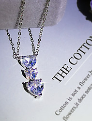 cheap -Women's AAA Cubic Zirconia Pendant Necklace Monogram Heart Simple Classic European Sweet Brass Silver 50 cm Necklace Jewelry 1pc For Wedding Party Evening Gift Engagement
