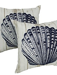 cheap -Sea Shell Double Side Cushion Cover 1PC Soft Decorative Square Throw Pillow Cover Cushion Case Pillowcase for Bedroom Livingroom Superior Quality Machine Washable Outdoor Cushion for Sofa Couch Bed Chair