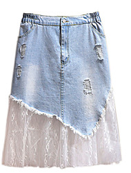 cheap -Women's Plus Size Skirt Lace Patchwork Solid Color Basic Casual Daily Natural Mini Spring Summer Blue XXL 3XL 4XL 5XL 6XL / Cotton