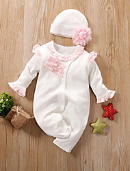 cheap -Baby Girls' Romper Basic Cotton Blushing Pink White Beige Solid Colored Print Long Sleeve / Summer