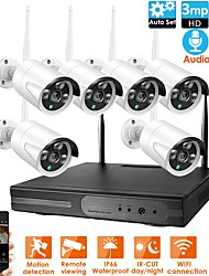 cheap -8CH Wireless NVR Kit CCTV Security System 8Pcs 1080P High Quality CCTV Wifi IP Camera IP66 Waterproof 1.3MP PAL NTSC Mobile Monitoring E-mail Alarm for Office Home