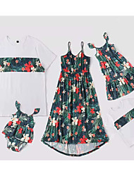 cheap -Family Sets Family Look Cotton Floral Plant Print White Sleeveless Daily Matching Outfits / Summer