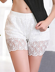 cheap -Women's Lace Sexy Lace Lingerie - Polyester Daily Wear Casual / Daily Solid Colored Panties White Black M L