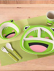 cheap -Baby Dinner Plate Grid Plate Cartoon Shatter-resistant Bamboo Fiber Cute Children's Fork Spoon Bowl Tableware Set Environment Protection