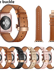 cheap -For Apple Watch Band Genuine Leather Strap For Apple Watch 42mm 38mm 40mm 44mm Butterfly Clasp Bracelet for iWatch 6 SE 5 4 3 2
