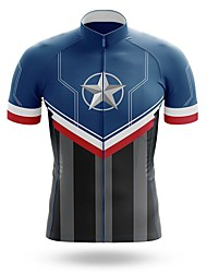 cheap -21Grams Men's Short Sleeve Cycling Jersey Summer Spandex Dark Blue Stars Bike Top Mountain Bike MTB Road Bike Cycling Quick Dry Moisture Wicking Sports Clothing Apparel / Athleisure