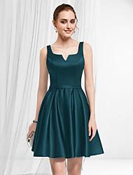 cheap -A-Line Empire Minimalist Homecoming Party Wear Dress V Neck Sleeveless Short / Mini Satin with Pleats 2021