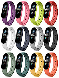 cheap -moko watch band compatible with xiaomi mi band 6/mi band 5, 12 colors set soft silicone replacement strap adjustable sport wristband for men women