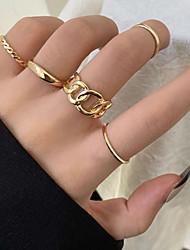 cheap -5pcs Ring Set Geometrical Gold Alloy Elegant Fashion Holiday 1 set One Size