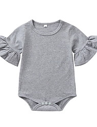 cheap -Baby Girls' Basic Solid Colored Short Sleeves Romper Gray White Black