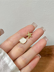 cheap -s925 silver needle small personality simple asymmetrical starfish shell earrings female sweet and cute earring ear clip b376