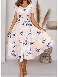 cheap -Women's Swing Dress Knee Length Dress Blushing Pink Short Sleeve Floral Flower Print Spring Summer V Neck Elegant Casual Party Holiday 2021 M L XL 2XL 3XL