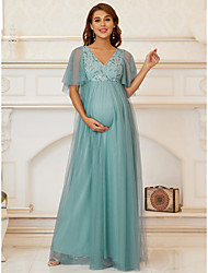 cheap -A-Line Mother of the Bride Dress Elegant V Neck Floor Length Chiffon Tulle Half Sleeve with Lace Sequin Draping 2021