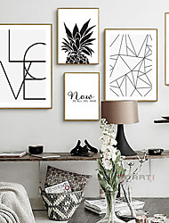 cheap -Wall Art Canvas Prints Painting Artwork Picture Black and White Motivational Words Home Decoration Décor Rolled Canvas No Frame Unframed Unstretched