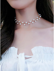 cheap -Women's Necklace Classic Romantic Classic Rock Cute Imitation Pearl Alloy Gold 30 cm Necklace Jewelry 1pc For Street Sport Masquerade Engagement Festival