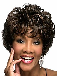 cheap -wigs for black women, short curly hair with air bangs and fluffy, natural heat-resistant synthetic wig, suitable for parties and daily use black and brown mixed no colored headband