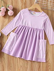 cheap -Toddler Little Girls' Dress Striped Purple Dresses