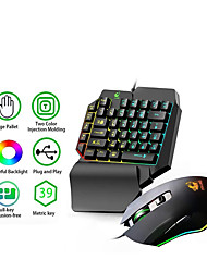 cheap -RGB Color Backlight Single Hand Game Mini Keyboard 2400DPI4 Level Adjustable DPI Mouse USB Plug-and-Play Ergonomic