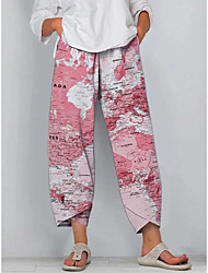cheap -world map printed shift casual pants