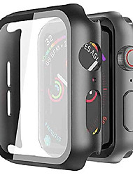 cheap -matte black hard shell protector case [with built-in tempered glass screen protector] for apple watch series 6/5/4/se (44mm model only)