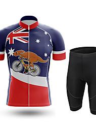 cheap -21Grams Men's Short Sleeve Cycling Jersey with Shorts Summer Spandex Red+Blue Australia Bike Quick Dry Moisture Wicking Sports Australia Mountain Bike MTB Road Bike Cycling Clothing Apparel