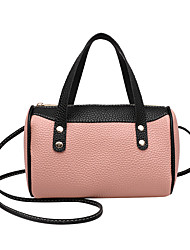 cheap -Women's Bags PU Leather Top Handle Bag Zipper Color Block Fashion Daily Holiday Tote Handbags Almond Blushing Pink White Black