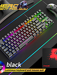 cheap -Free Wolf T2 Luminous Keyboard And Mouse Set Computer Console Games Mechanical Feel 88 Key English Keyboard And Mouse Set