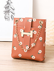 cheap -Women's Bags PU Leather Mobile Phone Bag Flower Flower Fashion Daily Office & Career Evening Bag Chain Bag Blushing Pink White Black Red