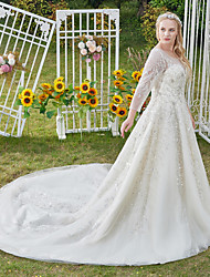 cheap -Princess Ball Gown Wedding Dresses Jewel Neck Cathedral Train Lace Tulle 3/4 Length Sleeve Formal Vintage Luxurious Sparkle & Shine Plus Size with Crystals Beading Appliques 2021