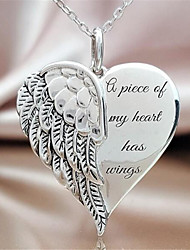 cheap -Women's Pendant Necklace Charm Necklace Classic Heart Precious Angel Wings Fashion Initial Copper Silver Plated Silver 45 cm Necklace Jewelry 1pc For Christmas Halloween Party Evening Street Gift