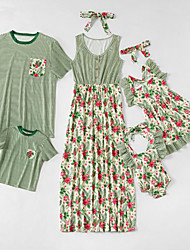 cheap -Family Sets Family Look Cotton Floral Striped Daily Wear Print Green Sleeveless Maxi Daily Matching Outfits / Summer