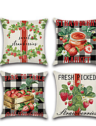 cheap -Fresh Market Double Side Cushion Cover 1PC Soft Decorative Square Throw Pillow Cover Cushion Case Pillowcase for Bedroom Livingroom Superior Quality Machine Washable Outdoor Cushion for Sofa Couch Bed Chair Strawberry