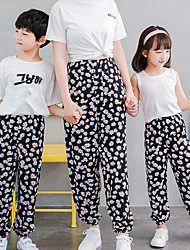 cheap -Pants Family Look Cotton Other Daily Print Yellow Blushing Pink Green Maxi Active Matching Outfits