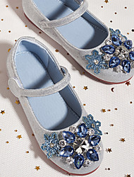cheap -Girls' Flats Glitters Mary Jane Princess Shoes Rubber Lace up Little Kids(4-7ys) Daily Walking Shoes Rhinestone Blue Pink Spring Summer / Booties / Ankle Boots