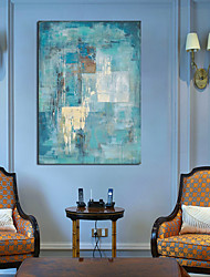 cheap -Oil Painting Handmade Hand Painted Wall Art Turquoise Blue Abstract Home Decoration Décor Stretched Frame Ready to Hang 60cm * 90cm