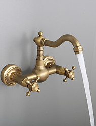 cheap -Two Handles Bathroom Sink Faucet,Golden Wall Mount Two Holes Retro Style StandardSpout Bathroom Sink Faucet with Cold and Hot Switch