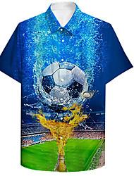 cheap -Men's Shirt 3D Print Football Soccer Football player Plus Size 3D Print Button-Down Short Sleeve Casual Tops Casual Fashion Breathable Comfortable Blue