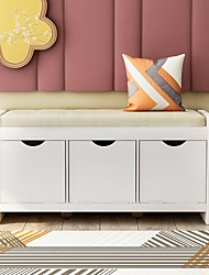 cheap -Storage Bench with Removale Cushion and 3 Flip Lock Storage Cubbies White Furniture
